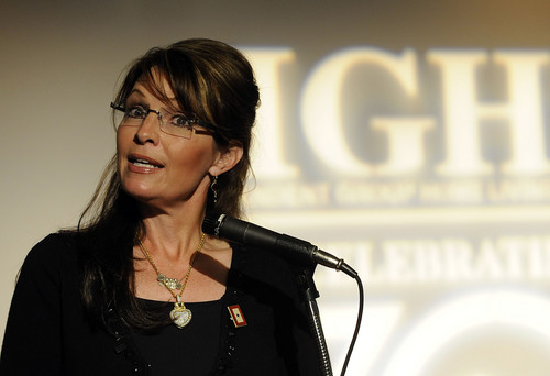 Gov. Palin receives IGHL 30th Anniversary Award for her defense of people with special needs. Photo courtesy of New York Newsday.
