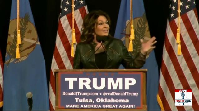 Trump Will Kick ISIS' Ass Sarah Palin Says in Tulsa